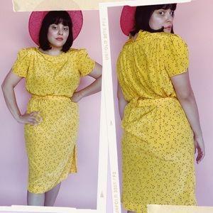 Vtg 80s Sprinkles Print Wiggle Dress S M
